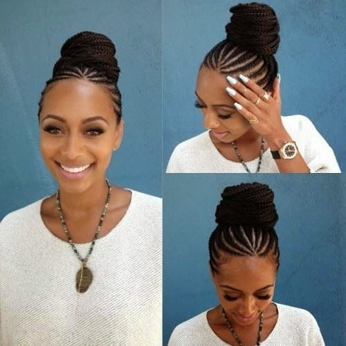 Braided Bun Hairstyles With Weave Natural Hair Styles Braided Hairstyles Hair Styles
