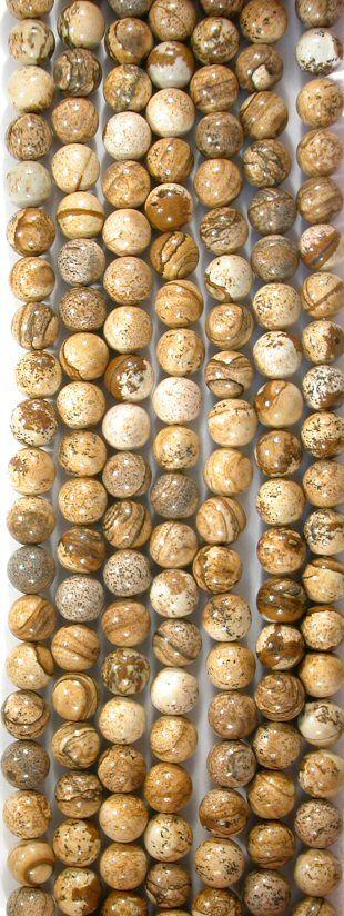 Picture Jasper 10mm Round Beads, 16in Str