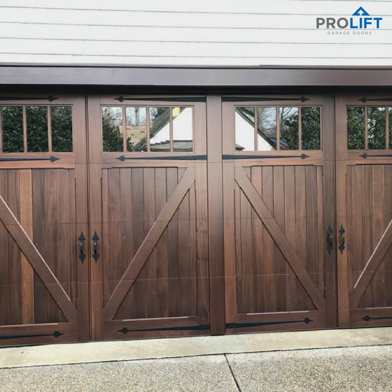 Stained With A Handsome Rich Color These Wooden Garage Doors By Artisan Are Impressive Notice The Custom Wooden Garage Doors Garage Door Styles Wooden Garage