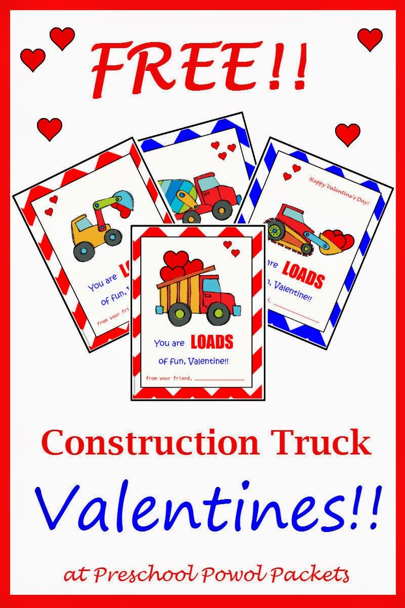 {FREE} Printable Construction Truck Valentines!   Preschool Powol Packets