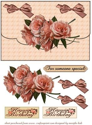 Especially for you on Craftsuprint designed by Marijke Kok - Nice envelopdesign with beautiful roses.... - Now available for download!