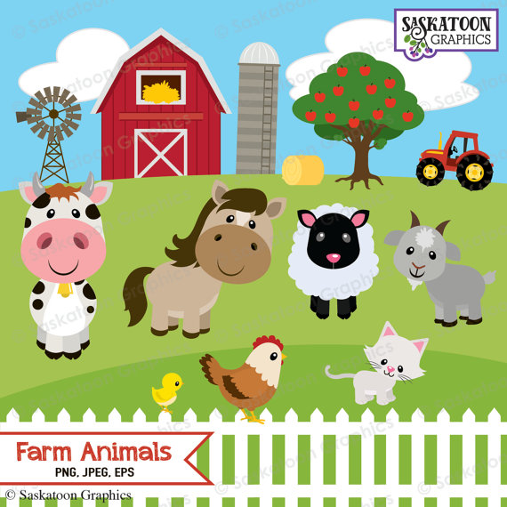 Cute Farm Animals Clipart Instant Download File Digital Etsy Animal Clipart Farm Animals Farm Kids