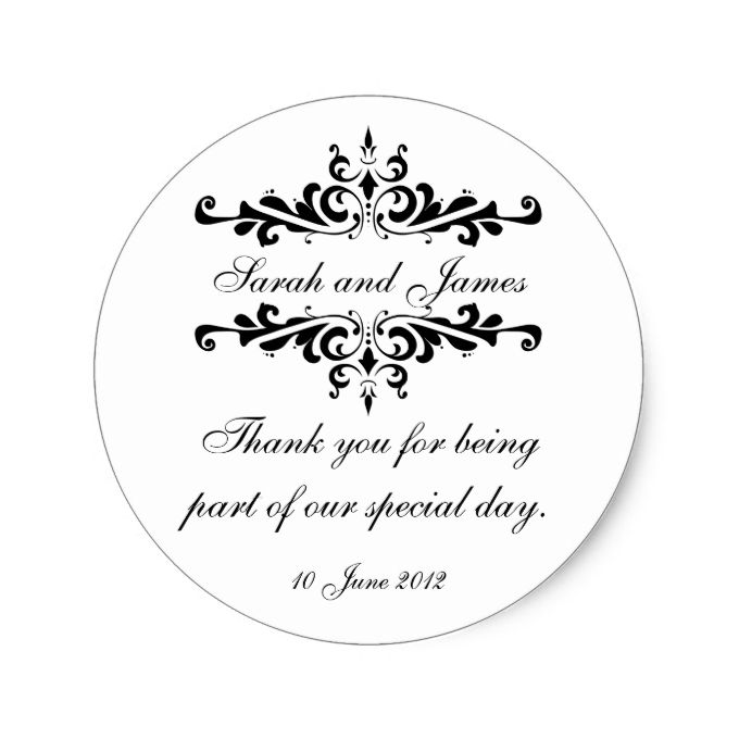 Elegant Personalized Thank You Wedding Sticker | Zazzle ...