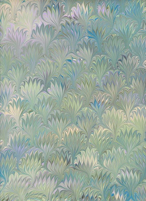 Marbled Paper, green thistle pattern