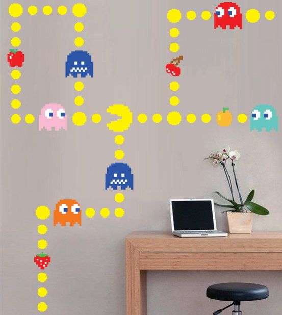 Pacman Wall Decal 65 00 Childrens Wall Decals Vinyl Wall Wall Decals