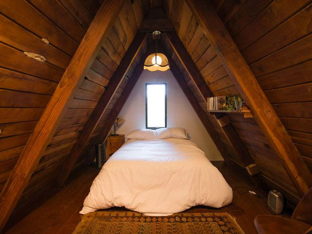 Peek Inside This Adorable A Frame Cabin In California | Cabin, Attic .