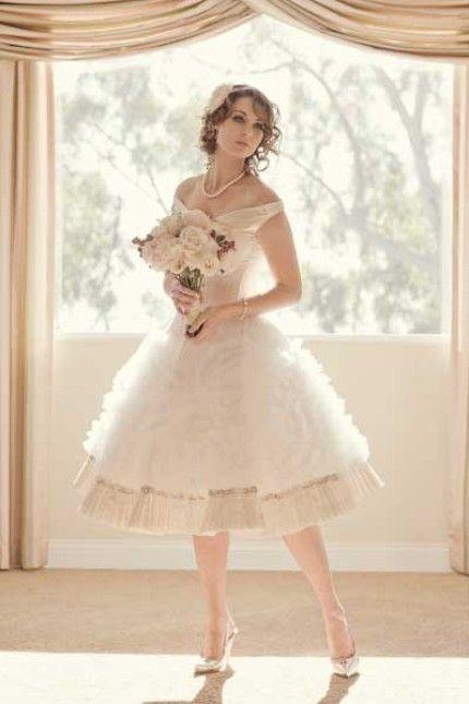 Joan Shum Made To Order Wedding Dresses Vintage Knee Length Full