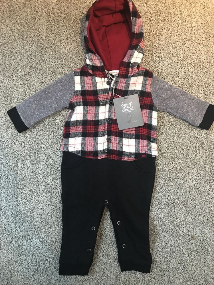 a252b651697 NWT Deux Par Deux Boys red black Holiday One Piece Size 6m With Hood   fashion  clothing  shoes  accessories  babytoddlerclothing   boysclothingnewborn5t ...