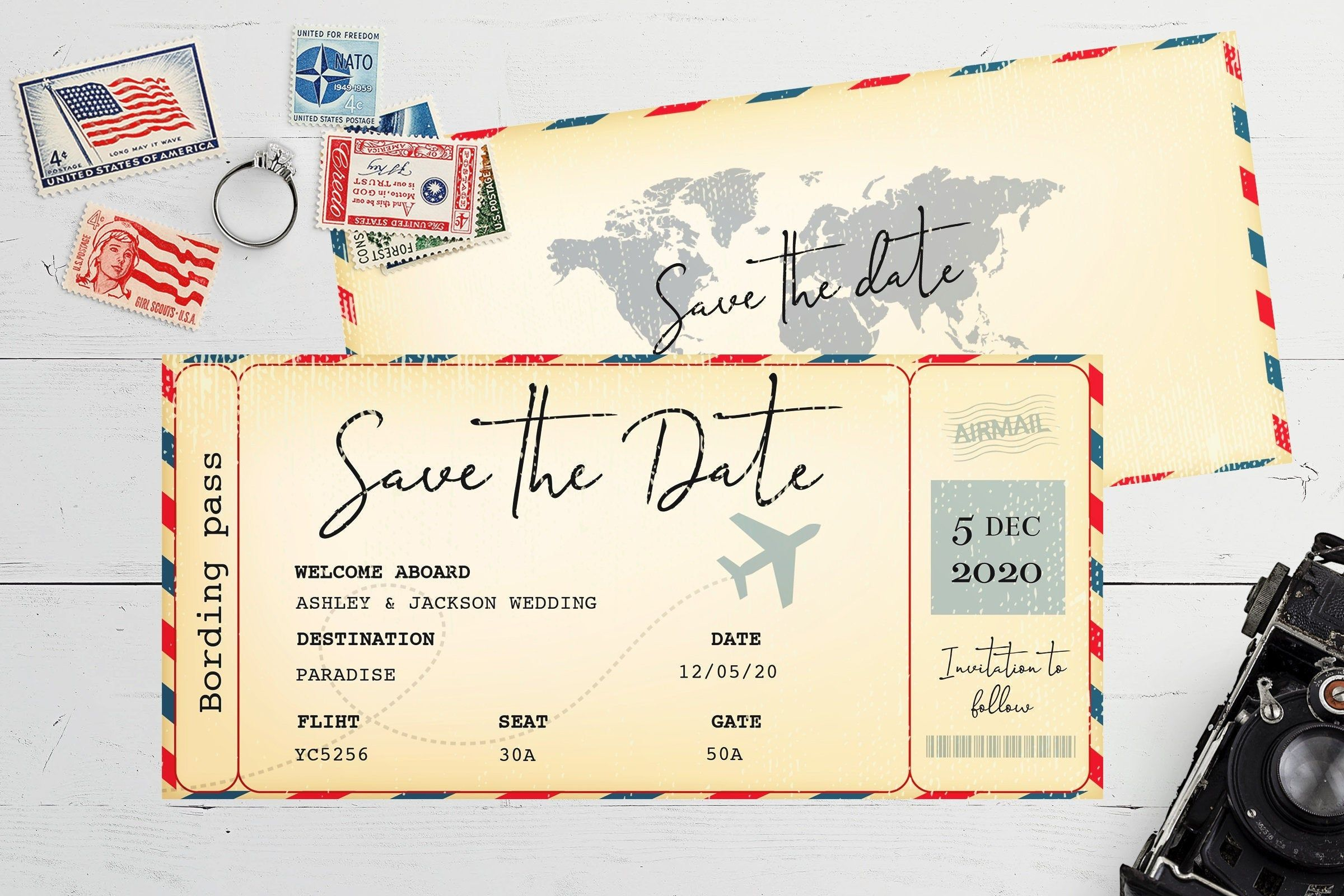 VOYAGE MARIAGE enregistrer la date, carte d'embarquement enregistrer la date, voyage mariage ...