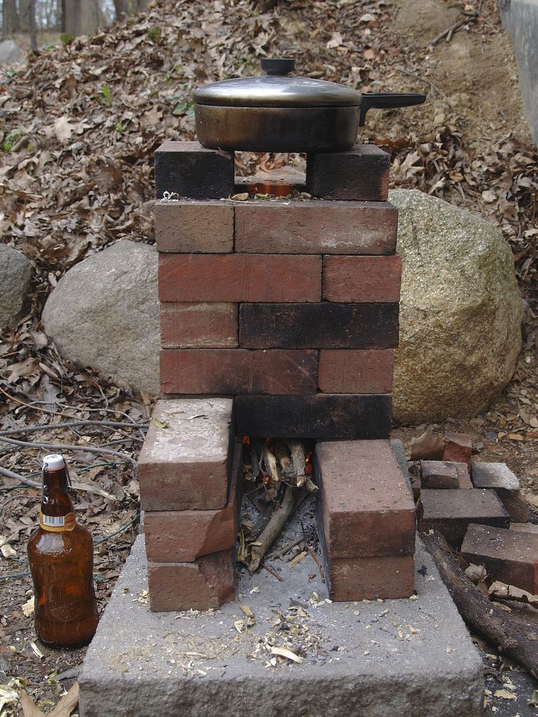 We built this rocket stove out of some scrap bricks for Brick jet stove