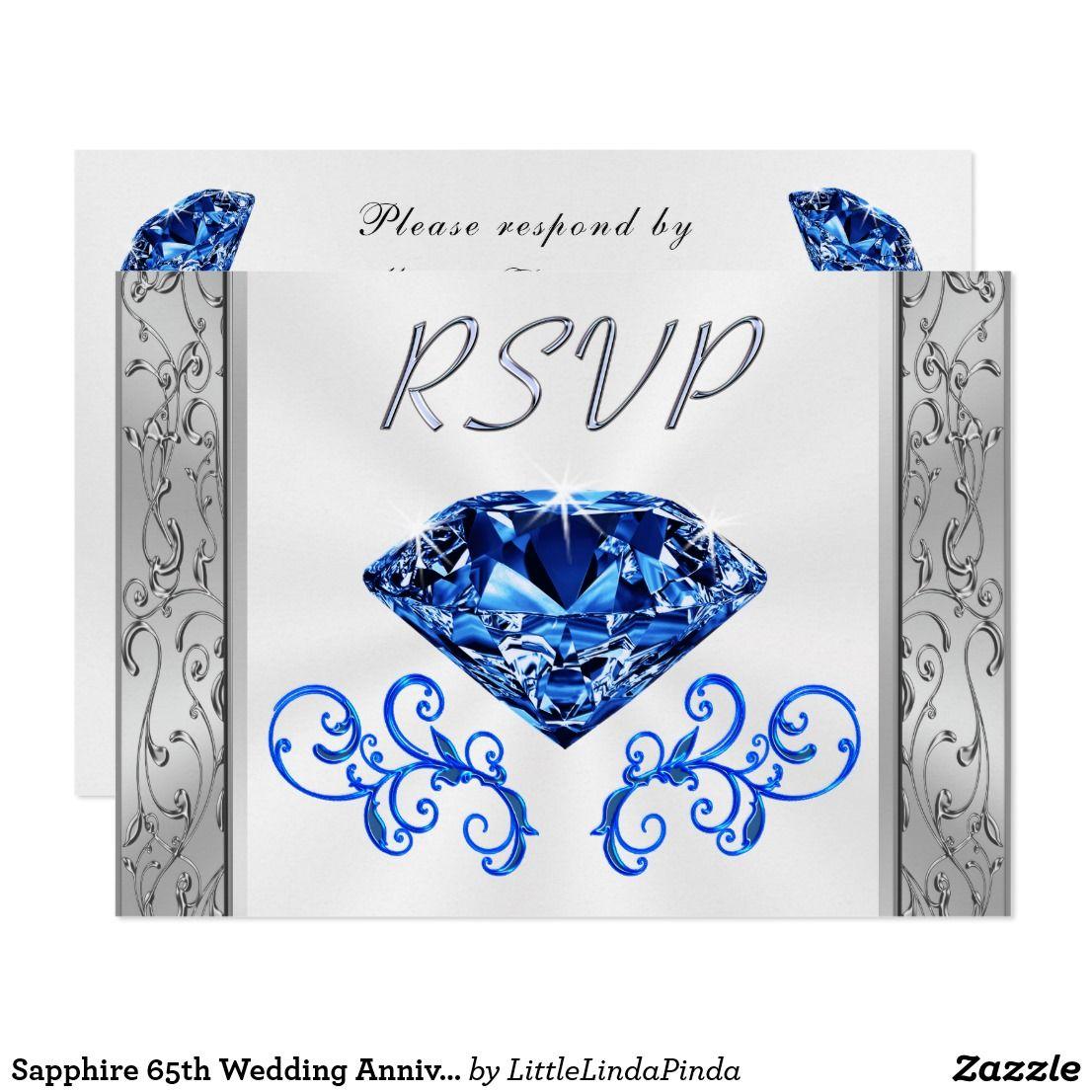Sapphire 65th Wedding Anniversary RSVP Cards
