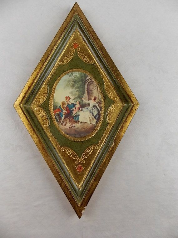 Diamond Shaped Picture Frame : diamond, shaped, picture, frame, Vintage, Diamond, Shape, Frame, Picture, Plaque, Italy, #wy278, Shapes,, Diamond,, Frames