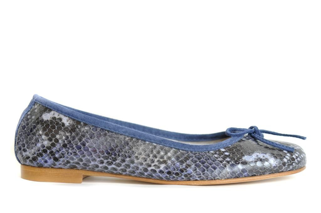 Gorgeous navy, super soft leather peep toe ballets flats in snake print by the king of ballet flats, Marcopizzi.
