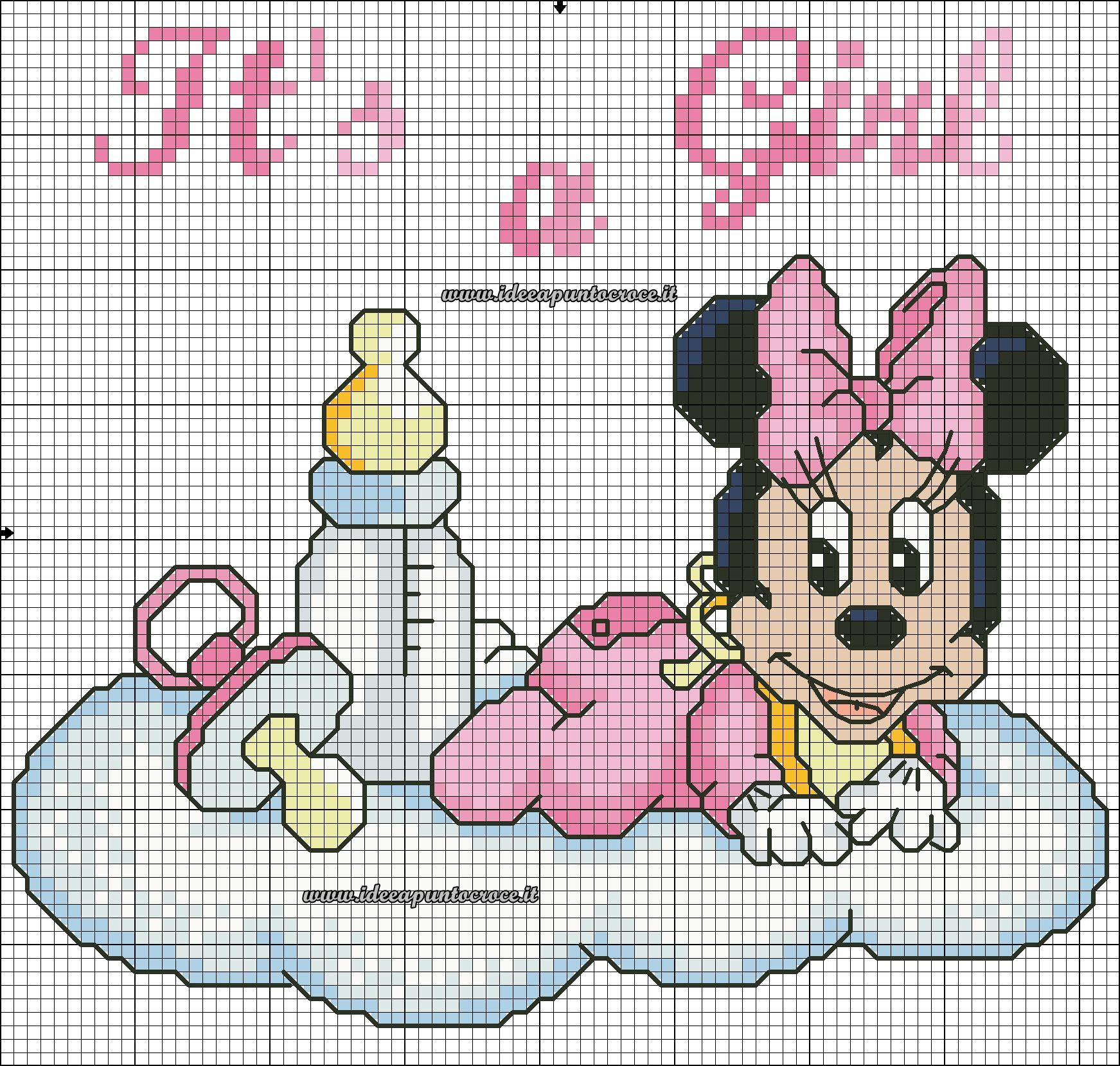 Baby Minnie Schema Punto Croce Cross Stitch Mickey And Minnie