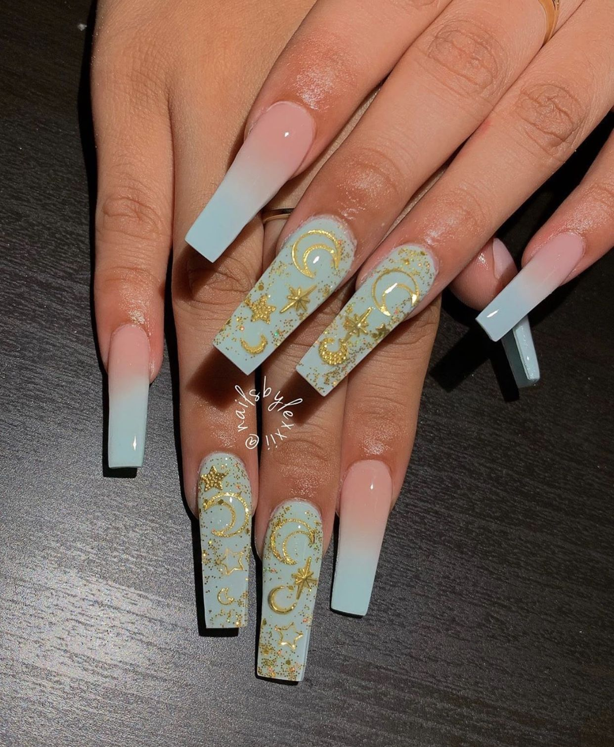 Moon Stars Pink Ombre Nails Blue Ombre Nails Long Acrylic Nails
