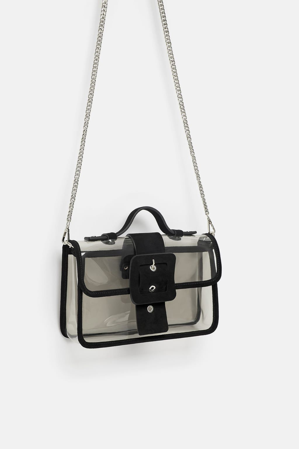 6b0370bab6 Image 1 of VINYL AND LEATHER CROSSBODY BAG from Zara