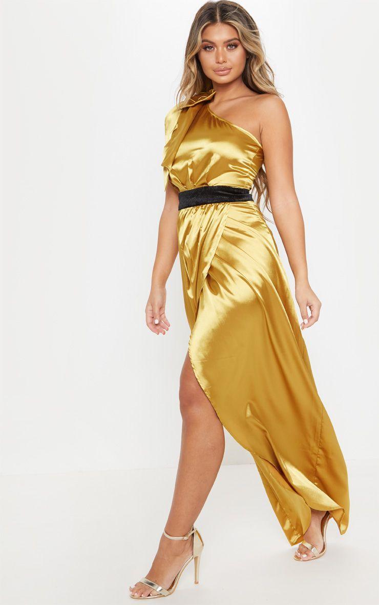 Mustard Satin One Shoulder Velvet Detail Split Maxi Dress