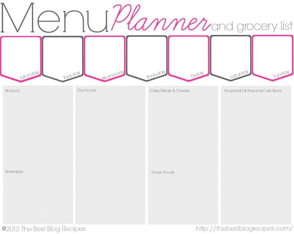 printable menu planner with grocery list
