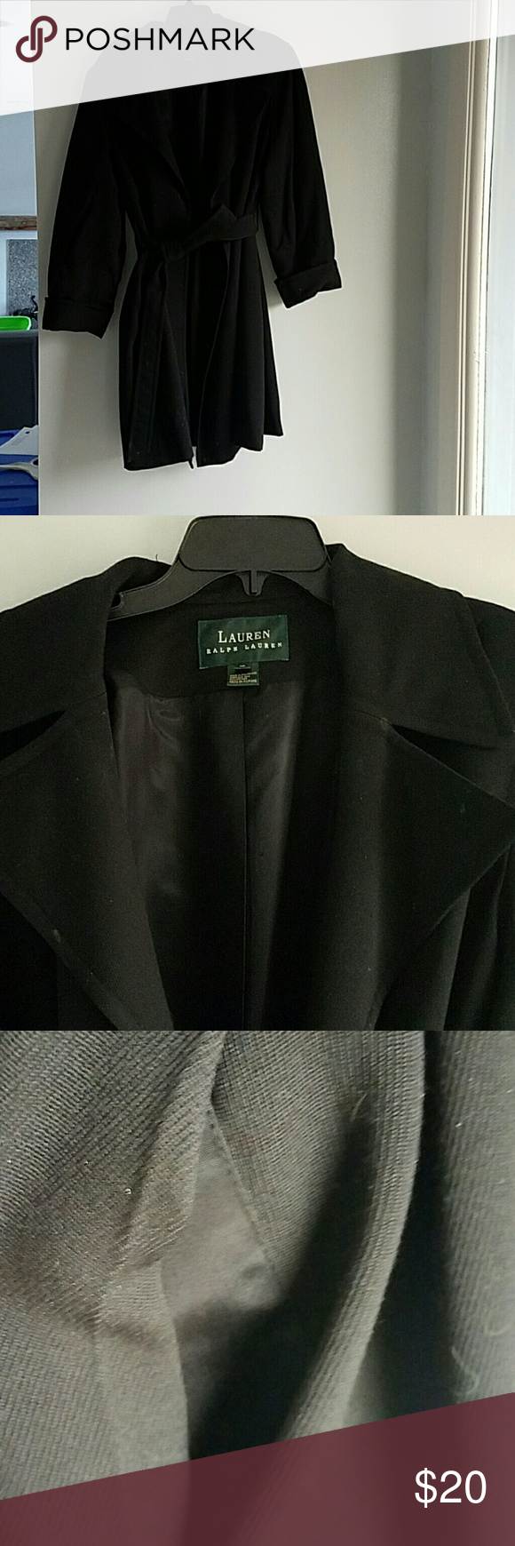 RALPH LAUREN black trench coat. Needs the cleaners but in good condition Jackets & Coats Trench Coats