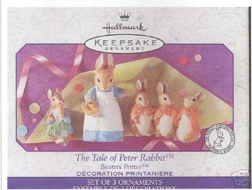 "Hallmark Keepsake Ornament - ""The Tale of PETER RABBIT"" By Beatrix Potter (Set of three ornaments) (1999) QEO8397"