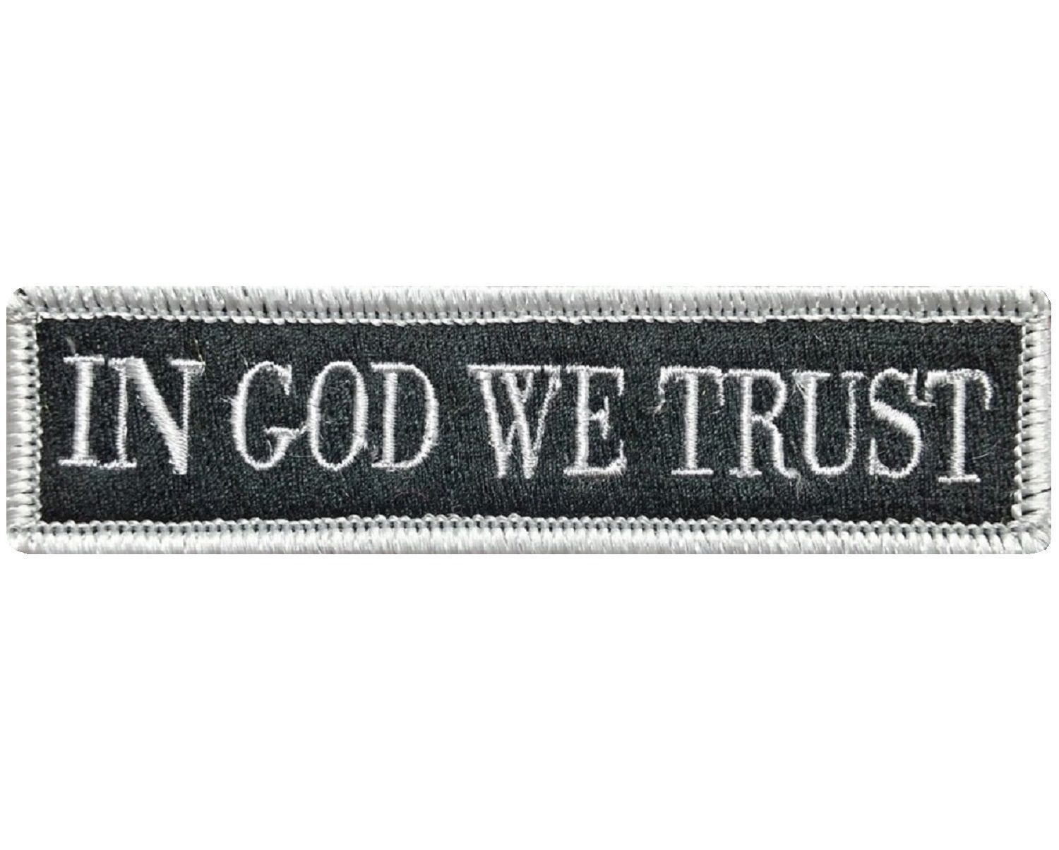 """V78 Tactical in god we trust patch Silver 1""""x3.75"""" Velcro hook *Made in USA*"""