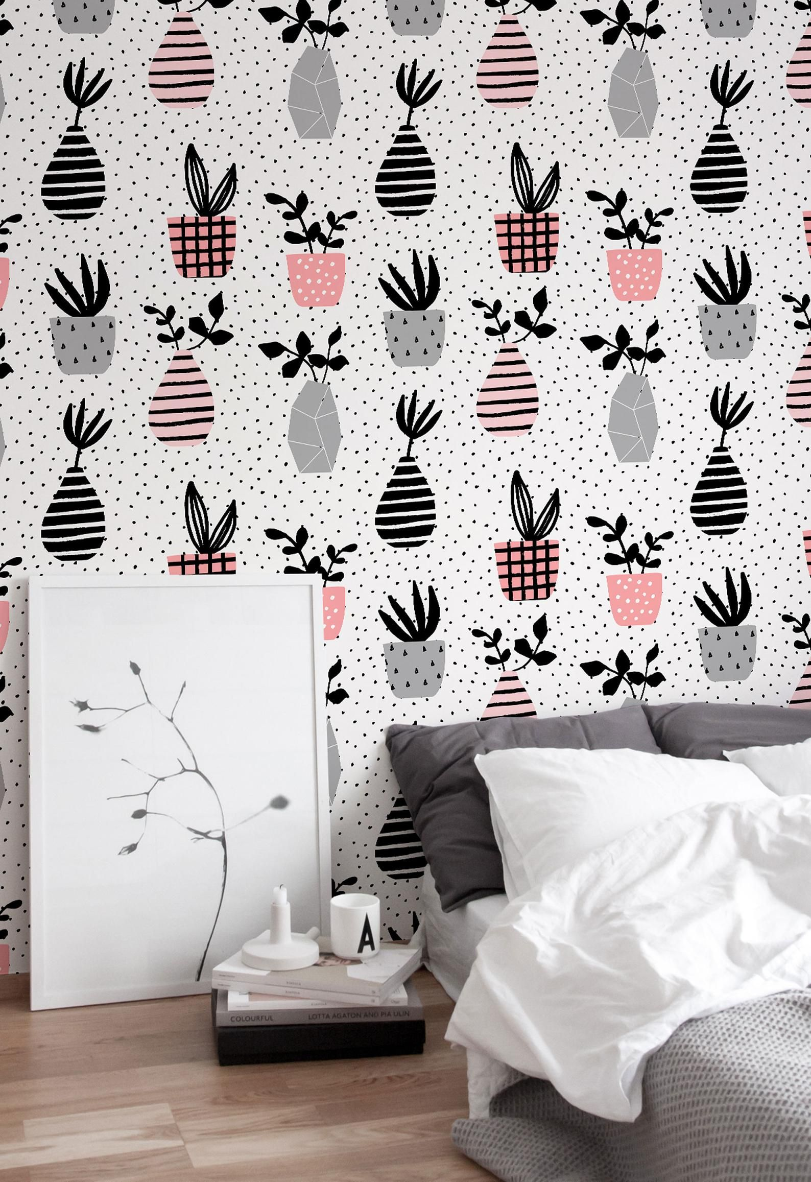 Cactus Wallpaper / Flower Wallpaper / Removable Wallpaper