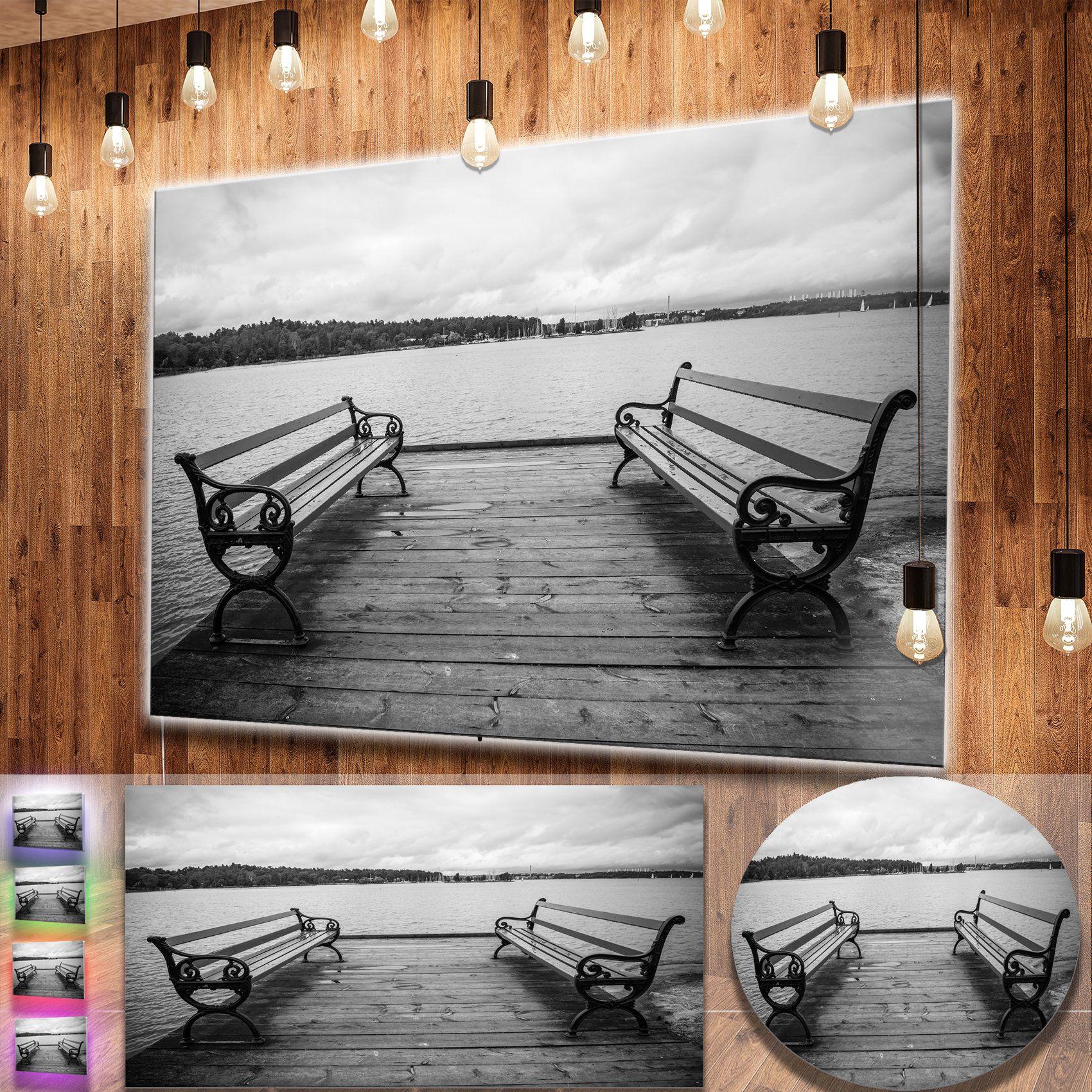 Designart ubenches on bridge by water sideu bridge metal wall art