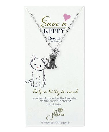 Love this Silvertone Cat Animal Rescue Charm Necklace on #zulily! #zulilyfinds