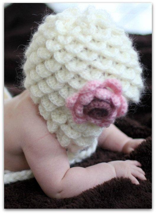 Crocodile stitch earflap baby hat pattern $5
