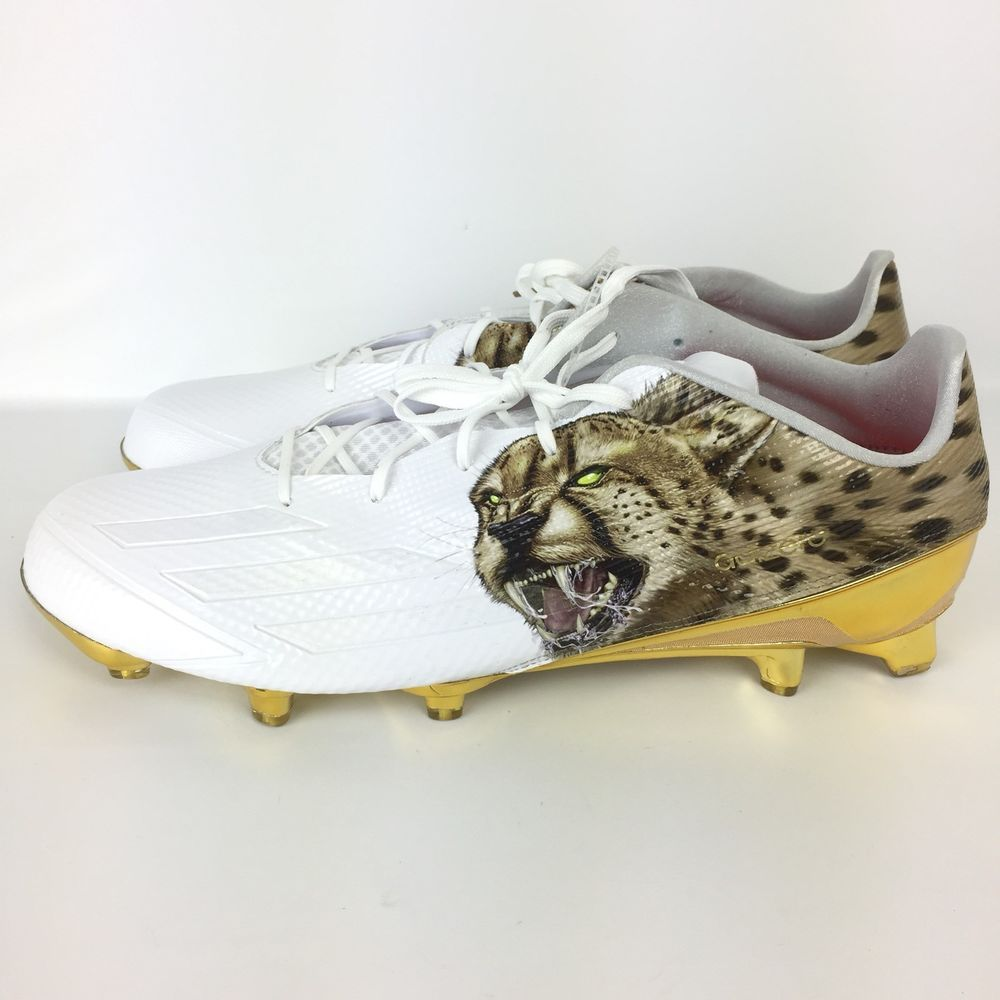 competitive price 86cf9 9d8f4 Adidas Adizero 5-Star 5.0 Uncaged Cheetah Football Cleats White Gold Size  15 c1  adidas