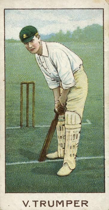 "1903 _ Victor Trumper, Wills (Australia) ""Australian & English Cricketers"". Baggy Green Cap. Colours inspired by the colours of the Golden Wattle."