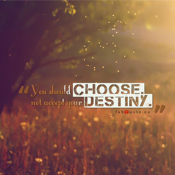 """You Should Choose, Not Accept Your Destiny"