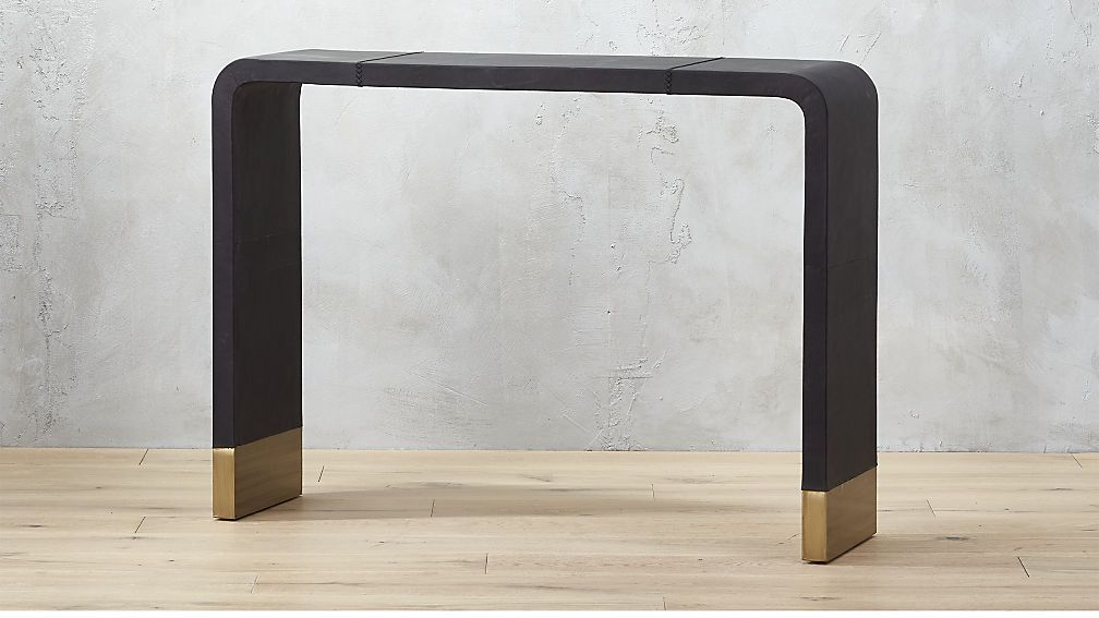Tyler Leather Console Table With Stitch Detail  Venice Studio Collection By  Fred Segal For CB2