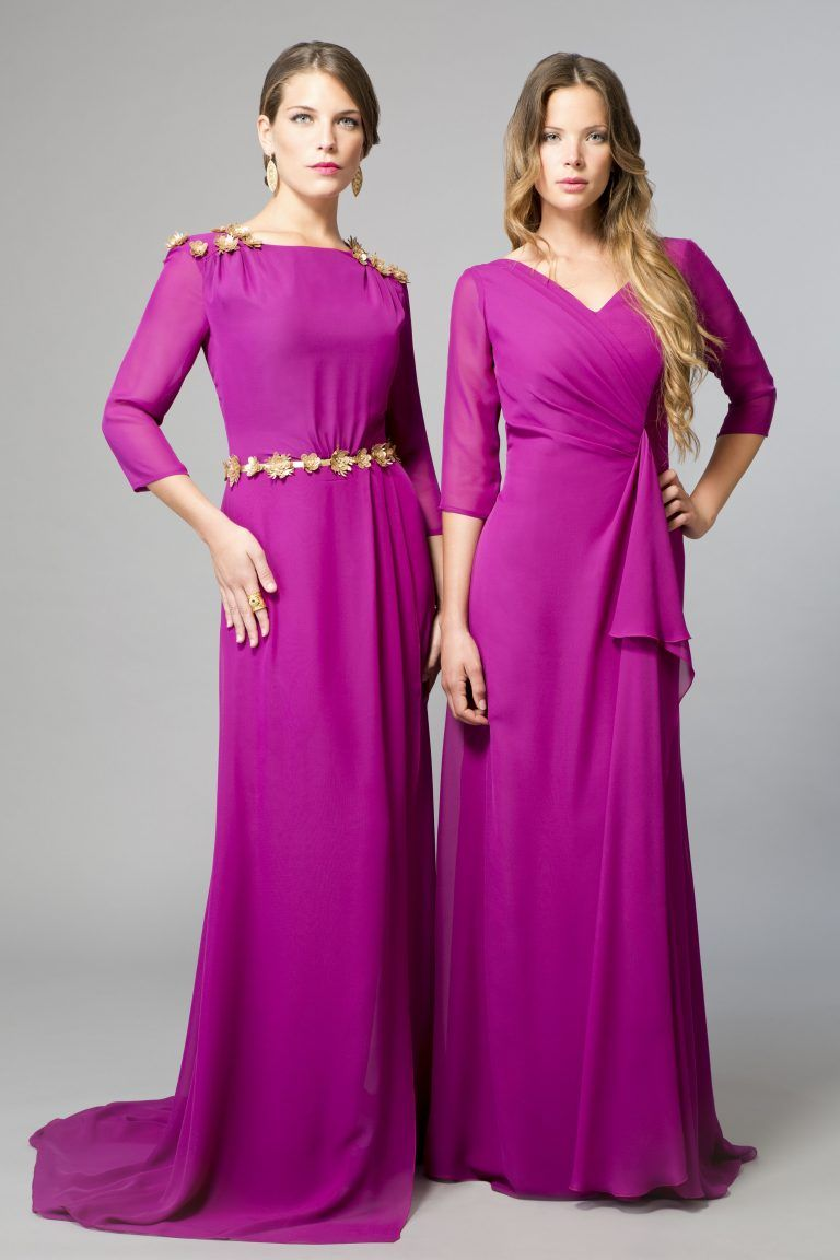 Vestido de Madrina en raso y encaje, color plata – Galanovias ...