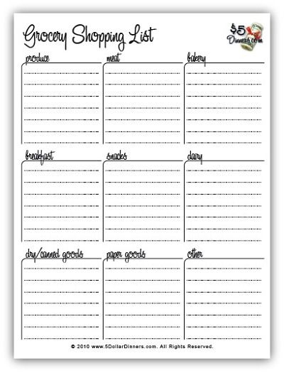 Free Printable Meal Planners and Grocery Shopping Lists – Printable Grocery List Template Free