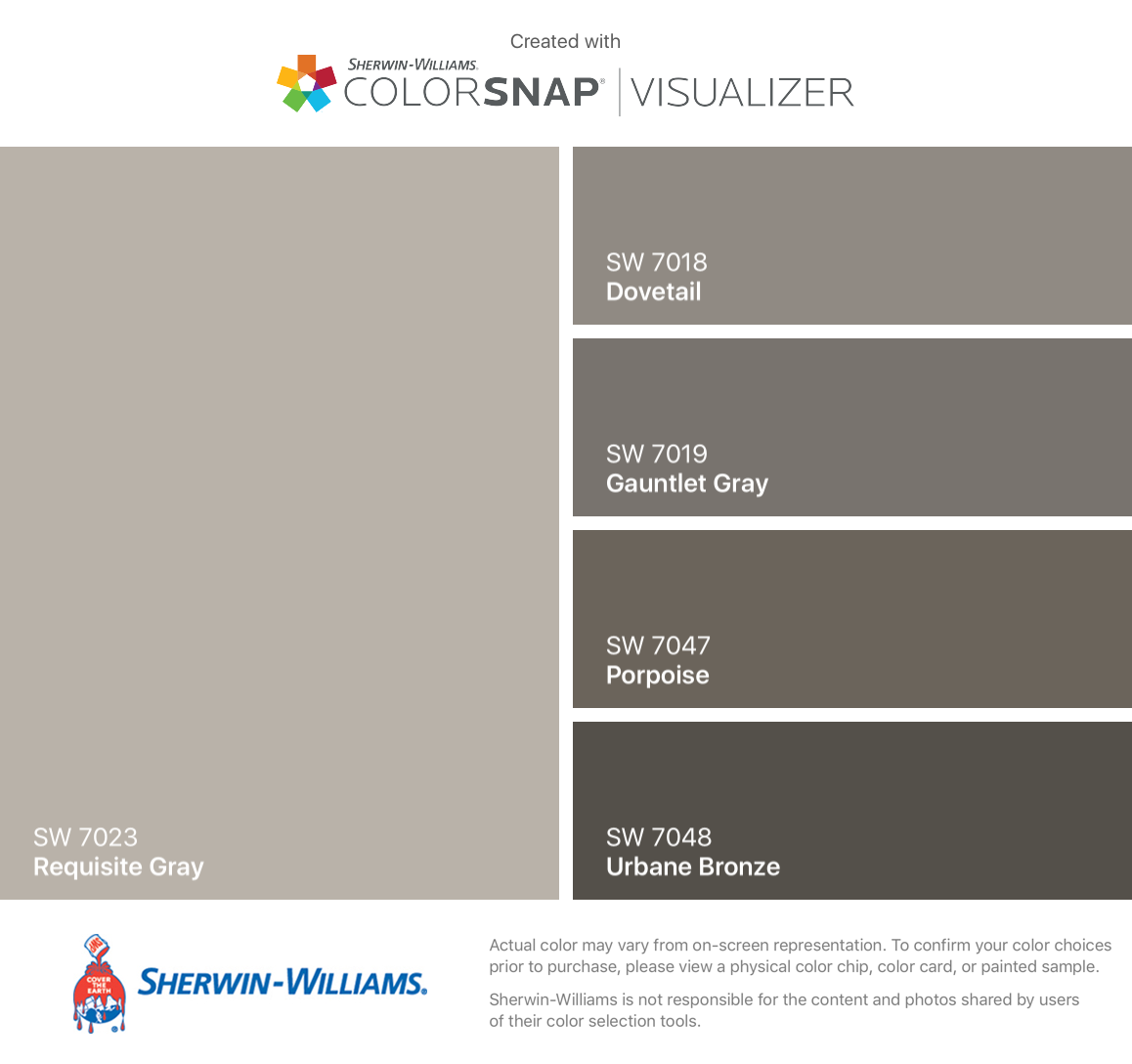 7018 dovetail sherwin williams - I Found These Colors With Colorsnap Visualizer For Iphone By Sherwin Williams Requisite Gray Sw Dovetail Sw Gauntlet Gray Sw Porpoise Sw Urbane Bronze