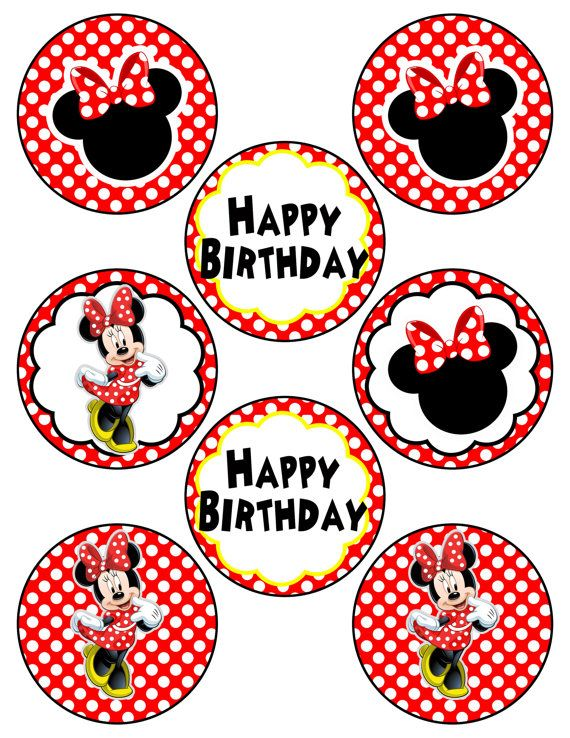 Digital Minnie Mouse Inspired Red And Pink Printable Birthday Party Cupcake Toppers Minnie Vermelha Festa Minnie Festa