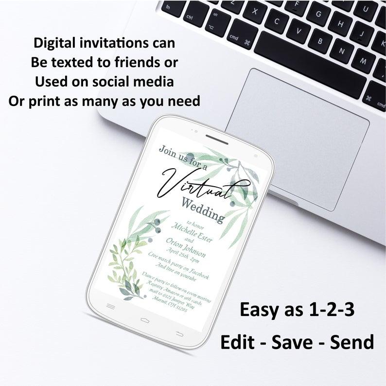 Virtual Rustic Wedding Invitation Eucalyptus social