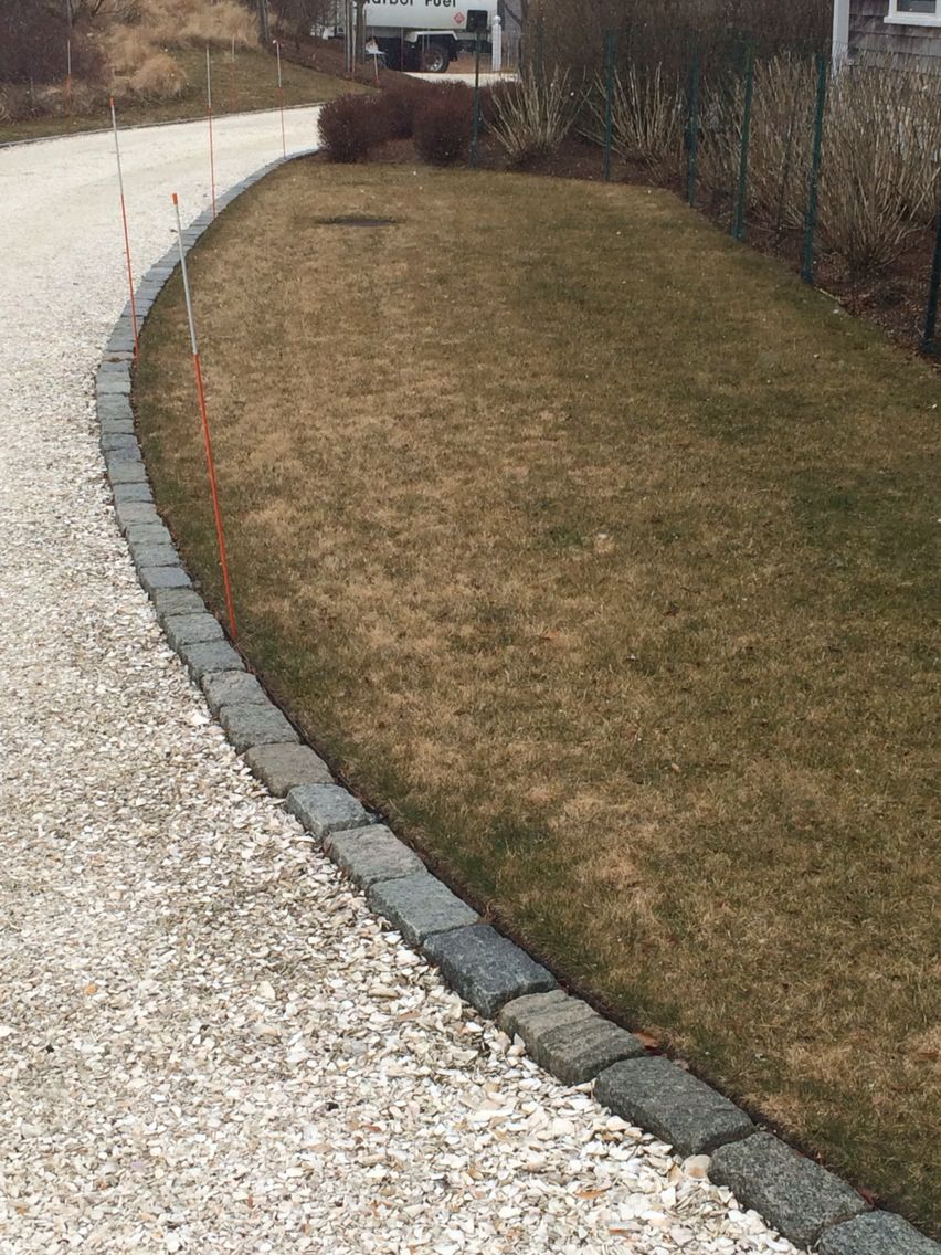 Belgium Block Driveway Edging With Structural Turf Overflow Parking Area Large Backyard Landscaping Gravel Patio Driveway Landscaping