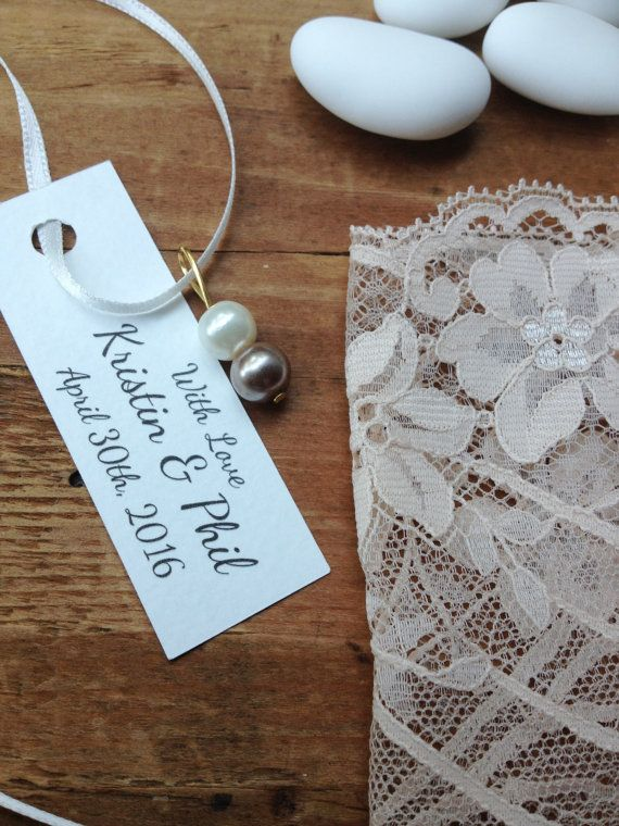 favor bags lace pink girl baptism bridal shower by TheWeddingBirds
