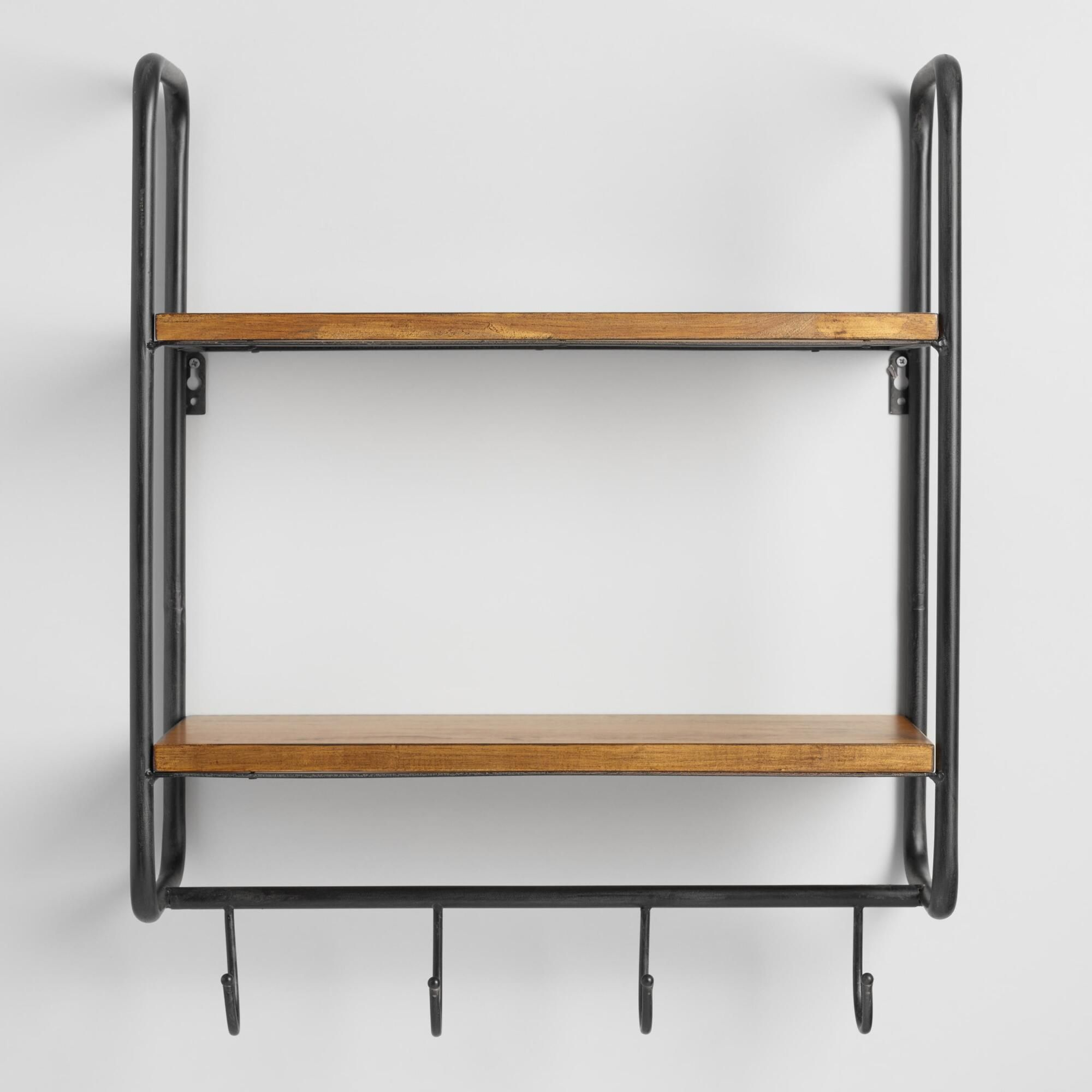 Maximize Organization In Your Kitchen Or Entryway With Our Versatile Wall Storage Unit Featuring A Black Metal Frame Two Wooden Shelves And Four Hooks