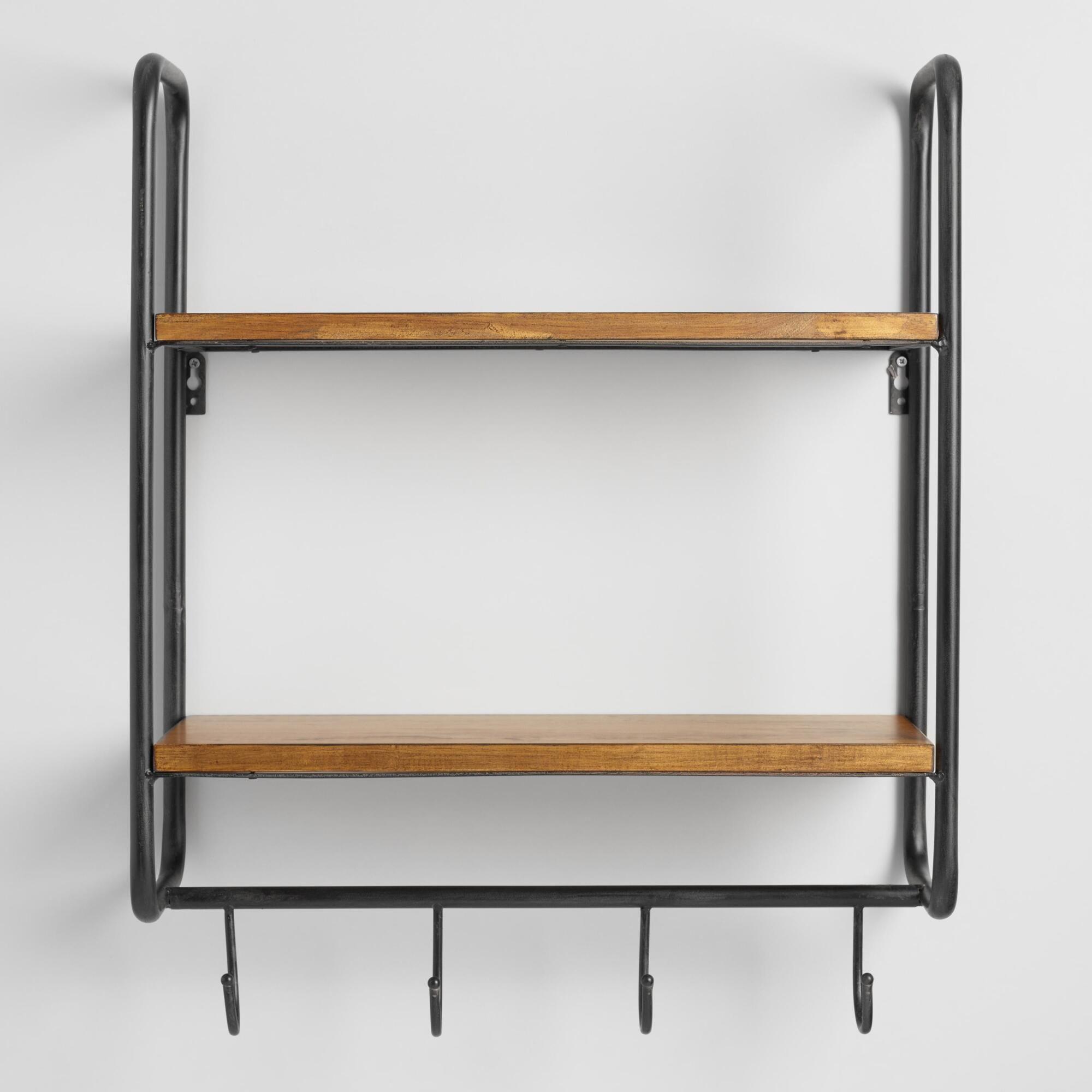 Metal and Wood Skyler 2 Shelf Wall Storage Wooden shelves Wall