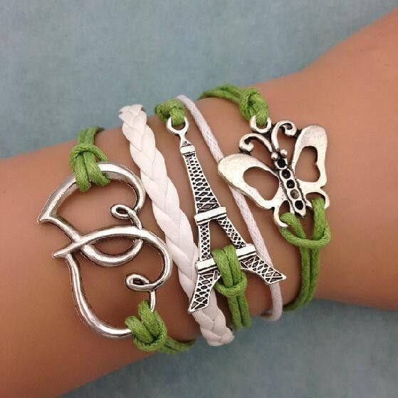 Eiffel Tower Hearts Butterfly Multi-strand Bracelet