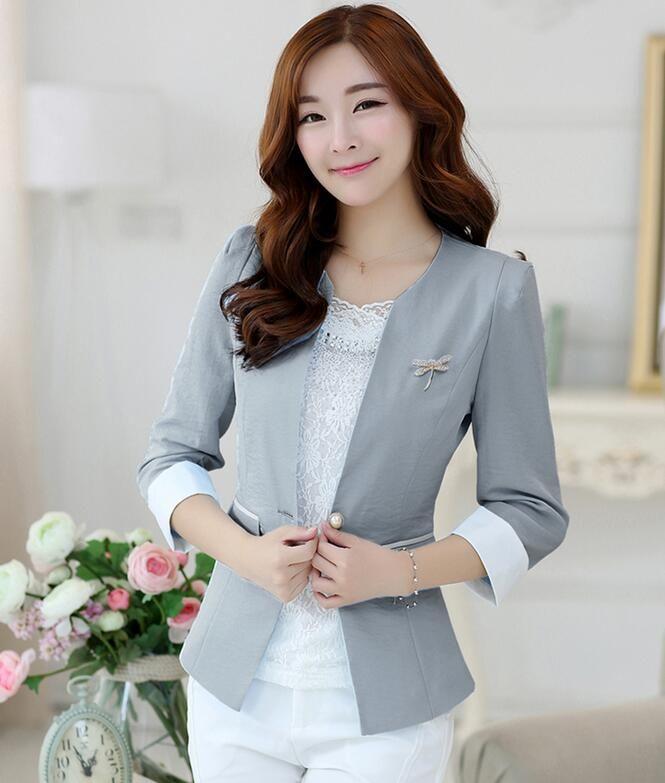 Cheap Moda tallas grandes 3XL chaqueta para mujer 2016 la primavera y el  otoño prendas de vestir exteriores corta blazers trajes de mujeres rosa  delgado ... 8fde34edb12a