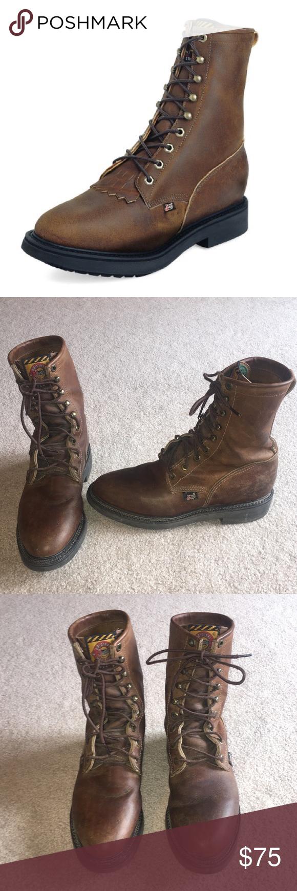 70d4c62ced5 Justin Lacer Original Work Boots Leather Brown 7 Justin Men's Lacer ...