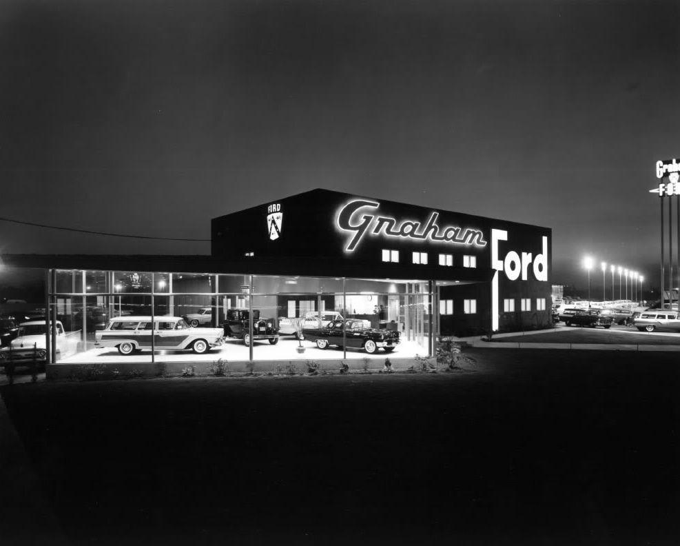 Graham Ford Dealership 1957 Black & White 11 x 14 Night