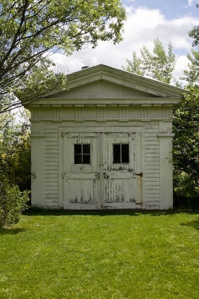 Amazing greek revival shed 1810 1860 greek revival for Carriage house shed