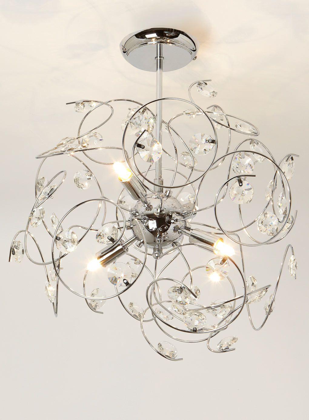 Chrome Lila Sputnik Light Fitting Home Life Flush