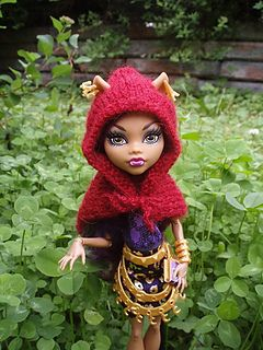 Knitting Patterns For Monster High Dolls : This hoodlet is designed for a Monster High doll Clawdeen who has pointy wolf...