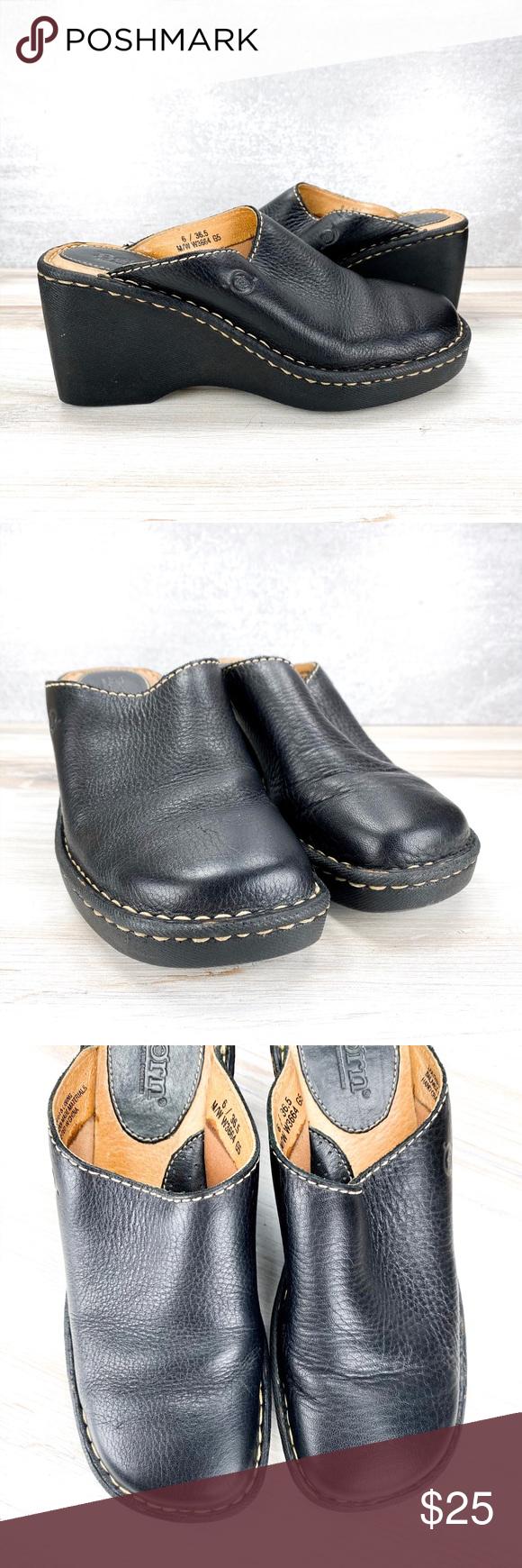 Born Black Leather Mules - 6/36.5